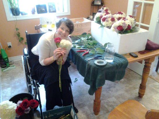 Priscilla makes the bridal bouquets.